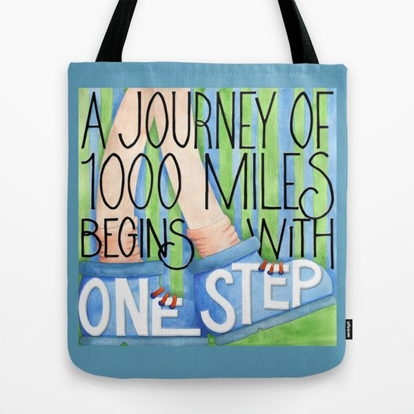 A Journey of 1000 Miles Tote Bag Society6
