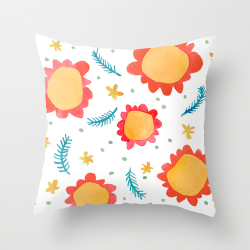 Painted Flowers orange Cushion Covers Society6