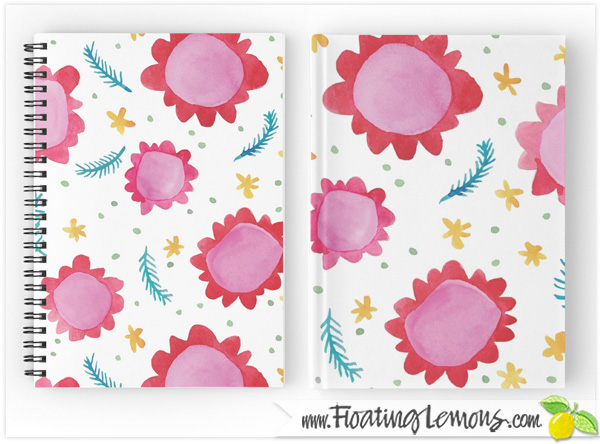 Painted-Flowers-red-Notebooks-Journals-by-Floating-Lemons
