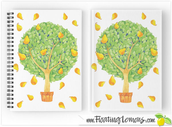 Pear-Tree-pears-Notebooks-Journals-by-Floating-Lemons