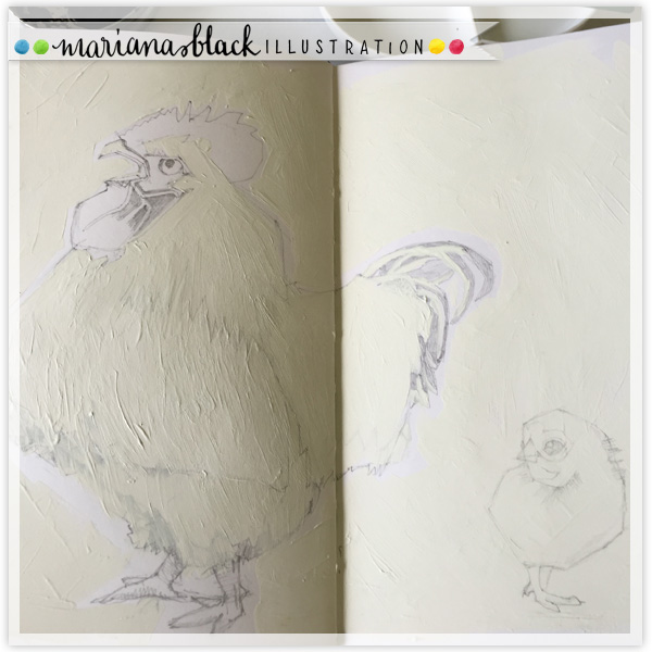 Rooster-and-Chick-Sketch-by-Mariana-Black