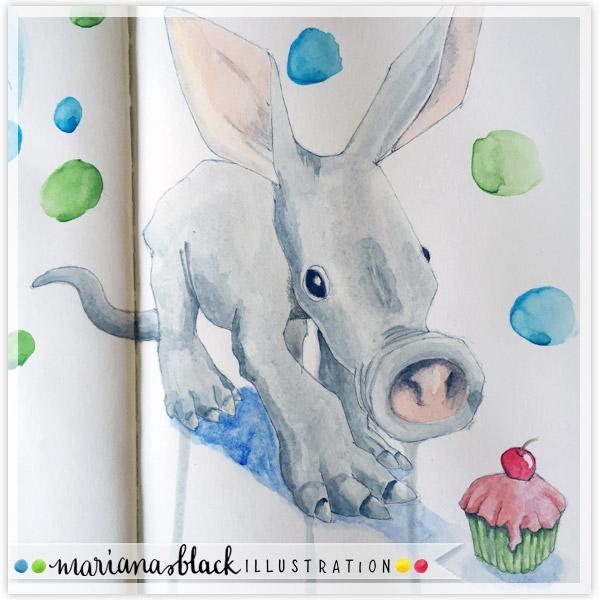 Baby Aardvark Cupcake sketch by Mariana Black