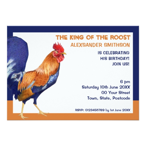 Rooster border Birthday Party Invitation by Floating Lemons for Zazzle