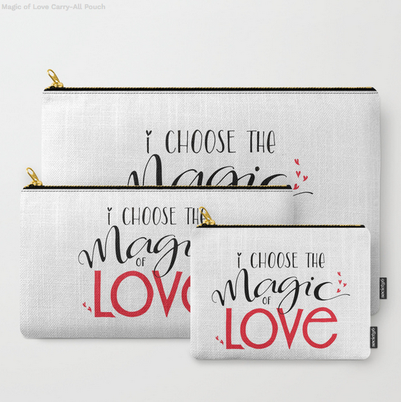 Magic of Love Carry-All Pouches by Floating Lemons for Society6