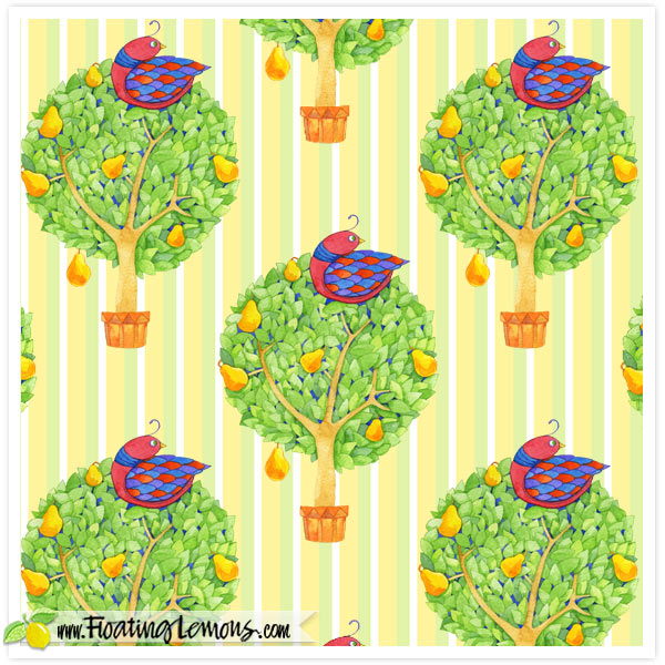 Partridge-in-a-Pear-Tree-1-stripes-by-Floating-Lemons