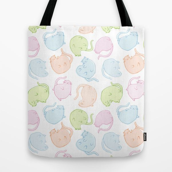 Cat Blobs Cats Tote Bag by Floating Lemons