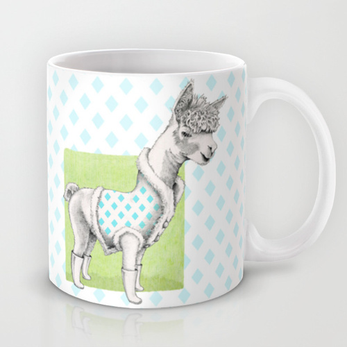 Alpaca in a Coat Mug - Floating Lemons Society6