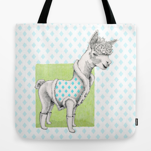 Alpaca in a Coat Tote Bag by Floating Lemons for Society6