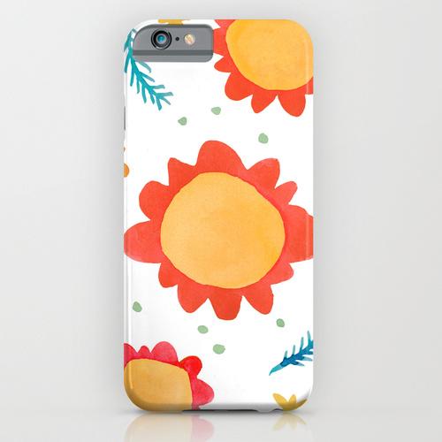 Painted Flowers orange Slim Phone Cases Society6