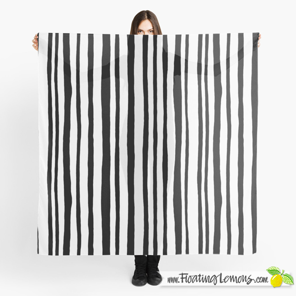 Into the Woods Stripes black Scarf by Floating Lemons