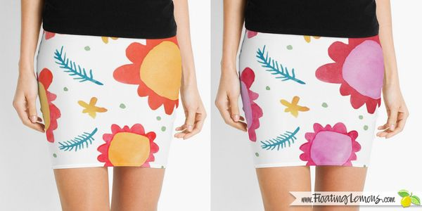 Painted-Flowers-Skirts-by-Floating-Lemons-for-Red-Bubble
