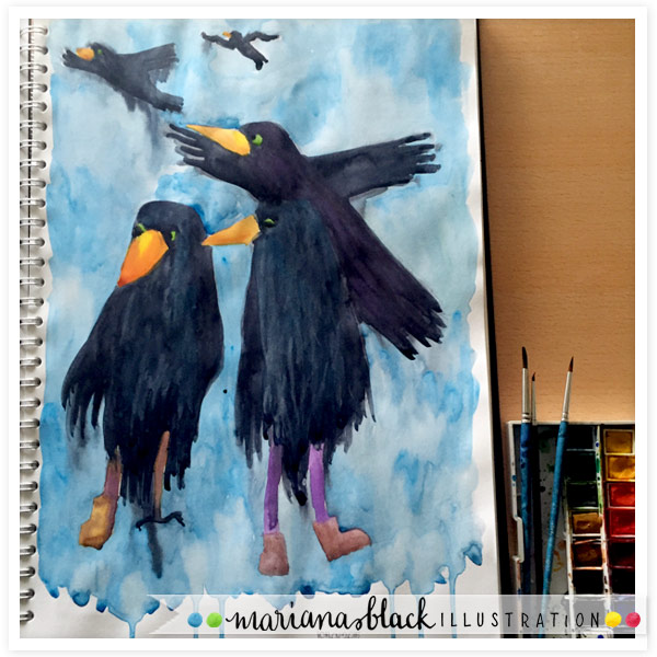 Painted-ravens-by-Mariana-Black