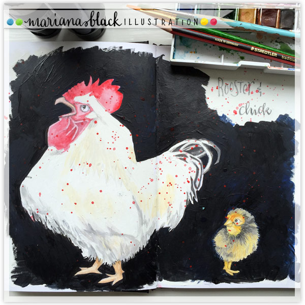 Rooster-and-Chick by-Mariana-Black