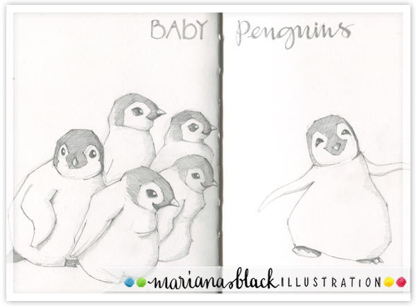 Baby-Penguins-sketch-by-Mariana-Black