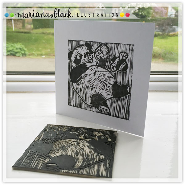 Panda-with-Honey-linocut-by-Mariana-Black