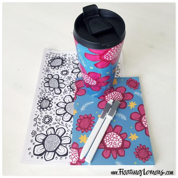 Pop-Flowers-pink-travel-mug-notebook-by-floating-lemons