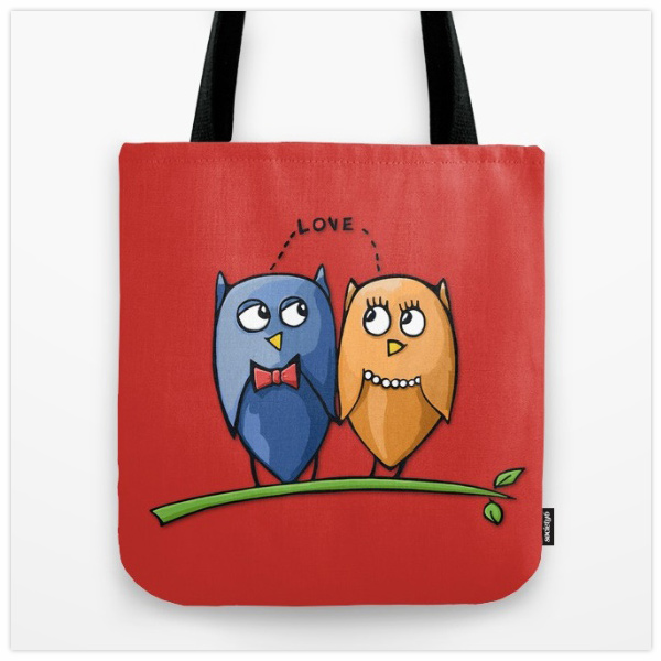 Owl-Love-red-Tote-Bag-by-Floating-Lemons