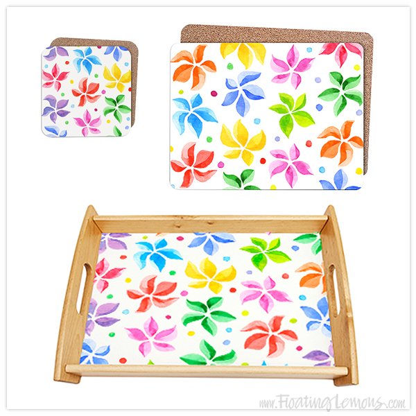 Floral-Leaves-Tray-Coasters-Placemats-by-Floating-Lemons