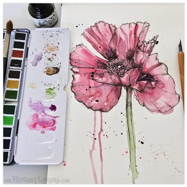 Pen-Ink-Poppy-wc-by-Floating-Lemons