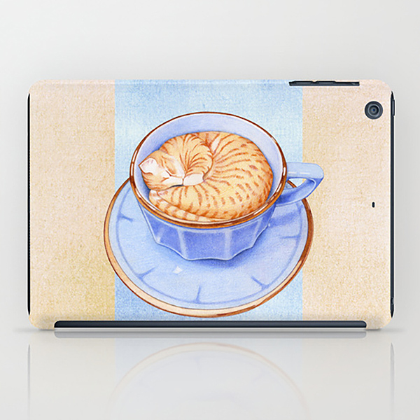 Cat-in-Coffee-iPad-Mini-Case-by-Floating-Lemons