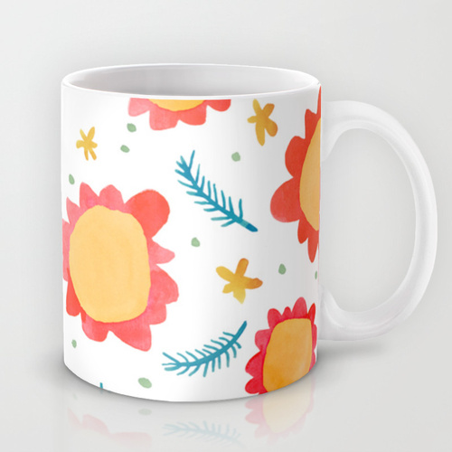 Painted Flowers orange Mugs Society6