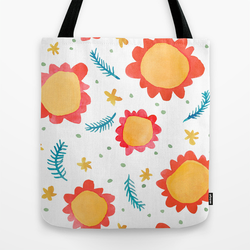 Painted Flowers orange Tote Bags Society6