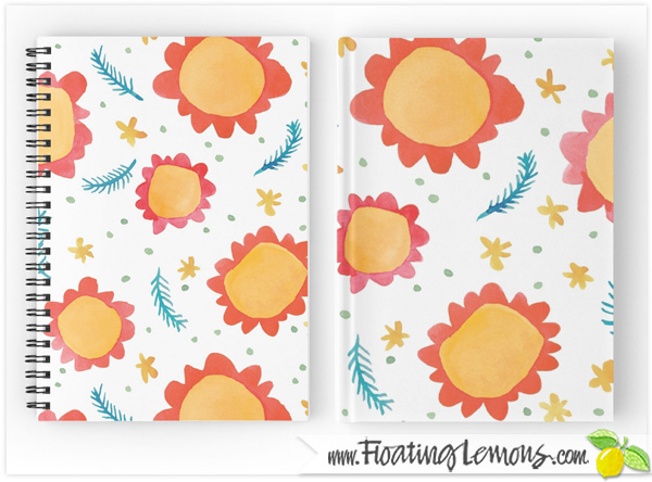 Painted-Flowers-orange-Notebooks-Journals-by-Floating-Lemons