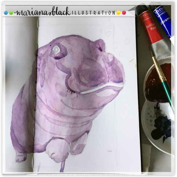 Hippopotamus-Watercolour-sketch-by-Mariana-Black
