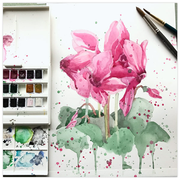 Crazy-Cyclamens-Watercolour-2-by-Floating-Lemons