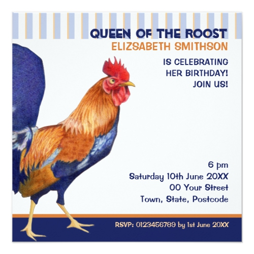 Rooster stripes Birthday Party Invitation by Floating Lemons for Zazzle